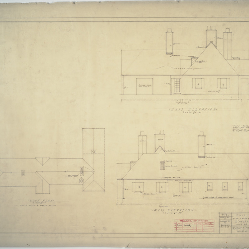Building 'A' roof plan, east elevation, and west elevation
