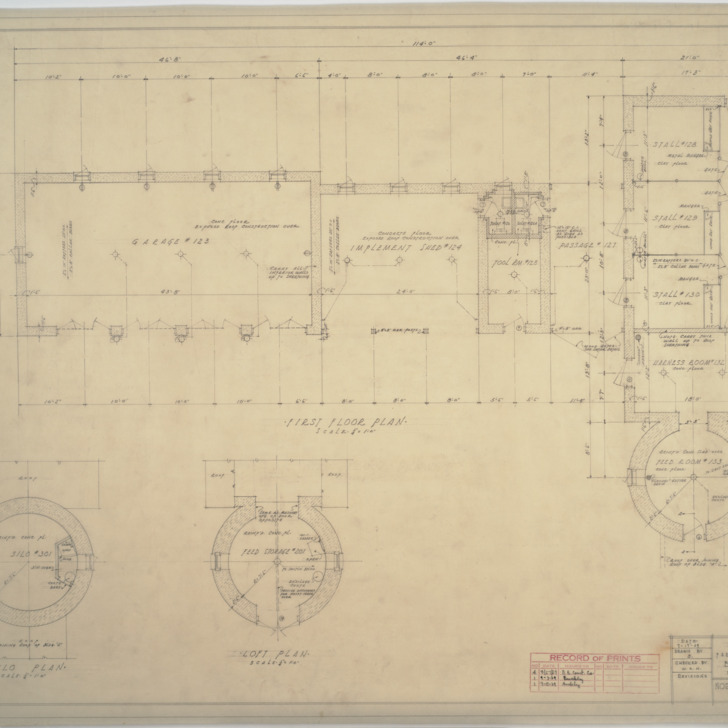 Building 'B' first floor plan, silo plan