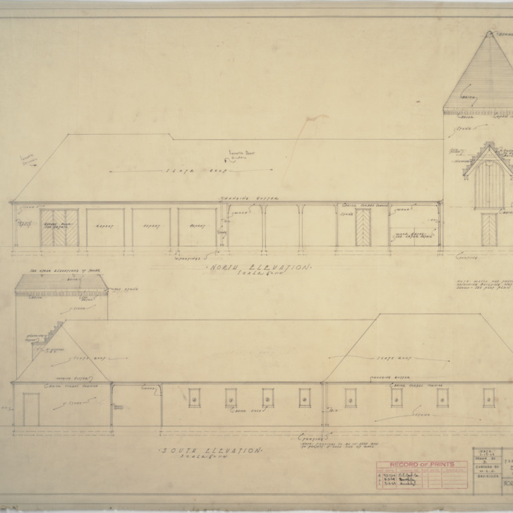 Building 'B' north elevation, south elevation