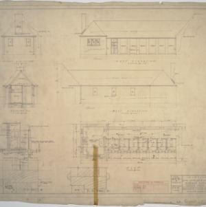 Kennel floor plan,  elevations, cutaway