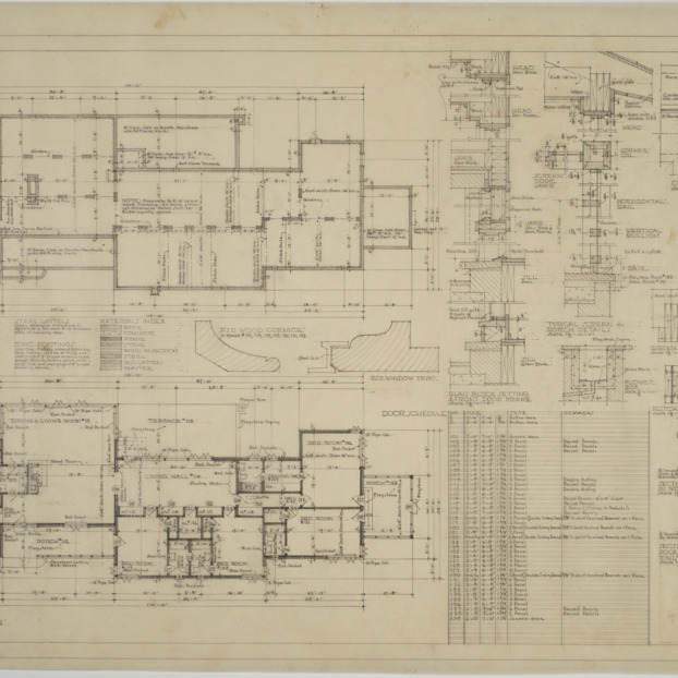 Basement plan, first floor plan, exterior details