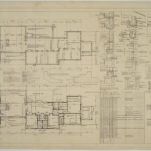 Basement plan, first floor plan, exterior details