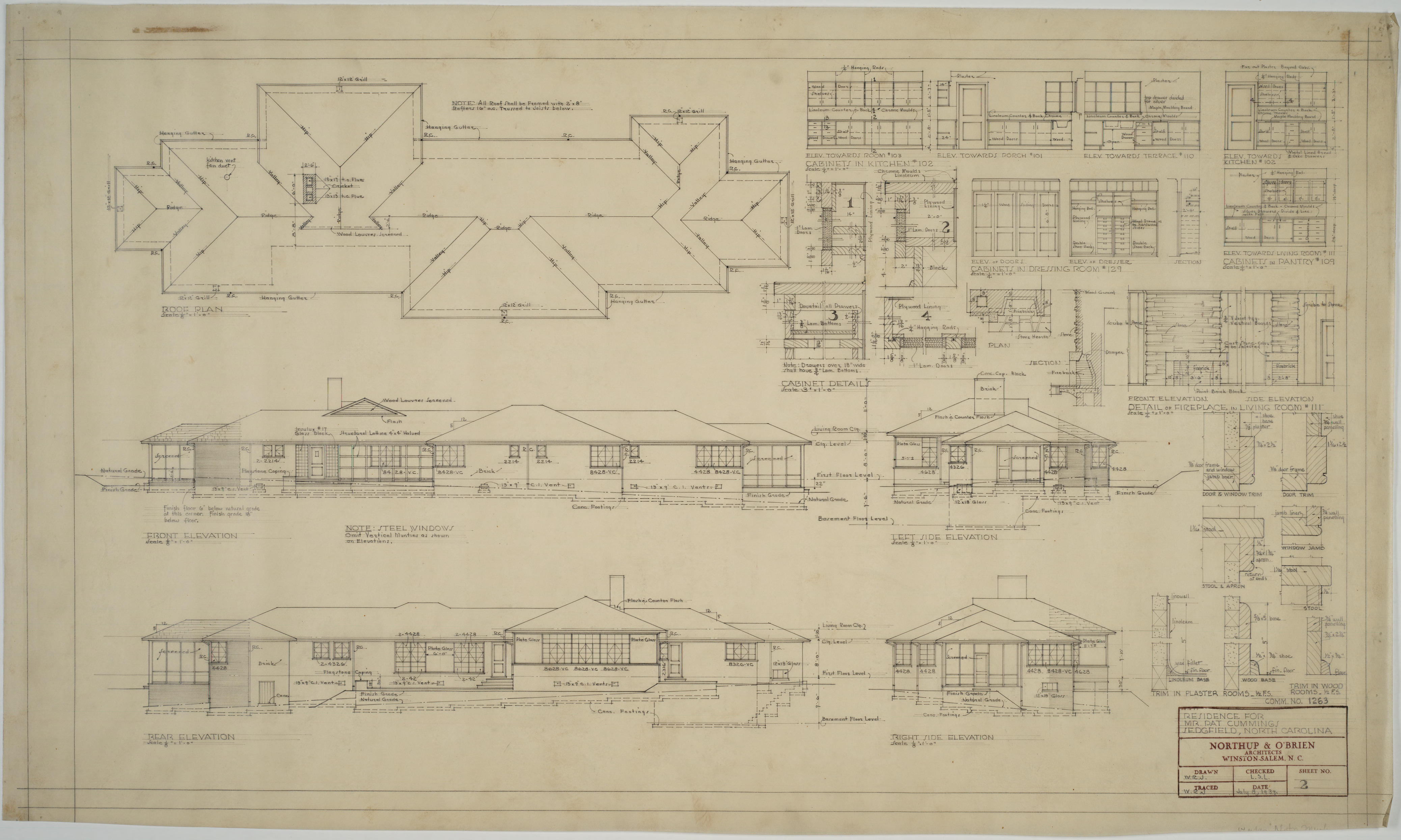 Right Side Elevation Plan : Roof plan front elevation left side rear