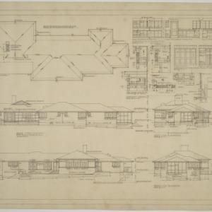 Roof plan, front elevation, left side elevation, rear elevations, right side elevation, interior details