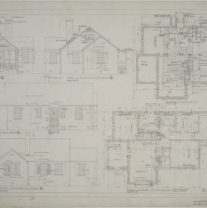 Elevations, basement plan, first floor plan, plan no. 2