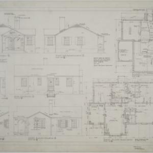 Elevations, basement plan, first floor plan, plan no. 4