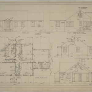 Floor plan, elevations, house for Mr. Thos Wilson, Winston-Salem