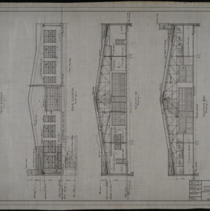 Front elevation, rear elevation, sections
