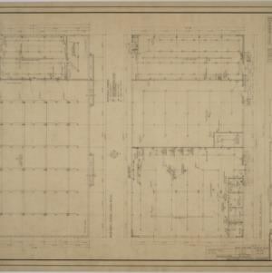 Basement floor plan, first floor plan, roof plan