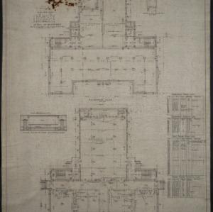Basement plan, first floor plan