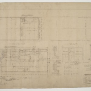First floor plan, second floor plan, roof plan, various details