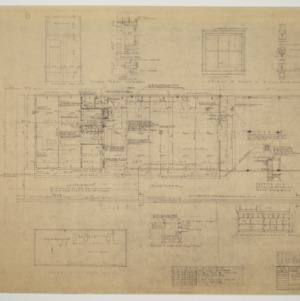 Floor plan, roof plan, various details