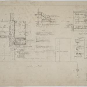 First floor plan, right side elevation, bathroom elevation