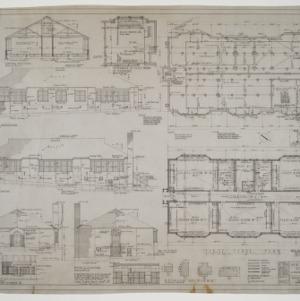 First floor plan, elevations, various details