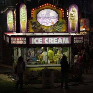 Ice cream booth at the 2010 North Carolina State Fair at night