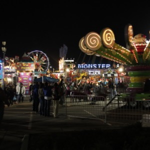 Rides and prize booths at North Carolina State Fair