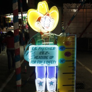 Cowboy height sign at North Carolina State Fair