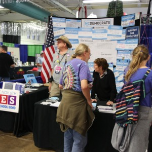 NC Democrts information booth at North Carolina State Fair, 2018