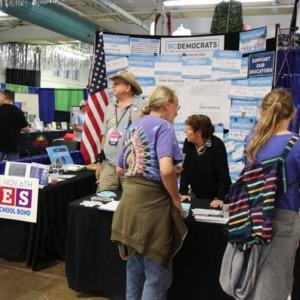 NC Democrts information booth at North Carolina State Fair, 2018