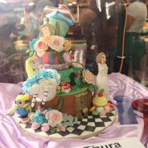 Award-winning cake decorated with Alice in Wonderland theme at North Carolina State Fair, 2018