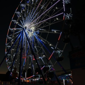 Ferris wheel lighted up at night at North Carolina State Fair, 2018