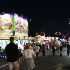 Booths and food stands at North Carolina State Fair, 2018