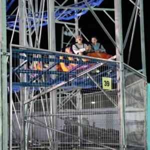 Pair on roller coaster at North Carolina State Fair, 2018
