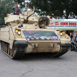 North Carolina National Guard tank driving through North Carolina State Fair, 2018