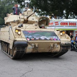 North Carolina National Guard tank driving through North Carolina State Fair, 2018