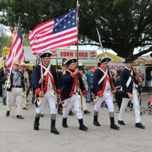 Procession in historical military costumes at North Carolina State Fair, 2018