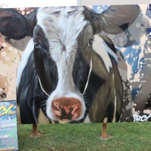 Cow painting at North Carolina State Fair, 2018