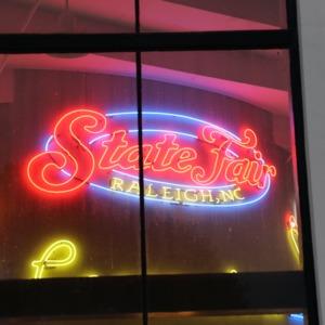 Neon sign for North Carolina State Fair, 2018