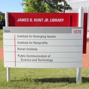 James B. Hunt Jr. Library Sign May 2017