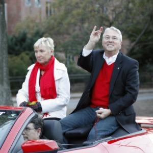Chancellor Randy Woodson and Susan Woodson at Homecoming Parade