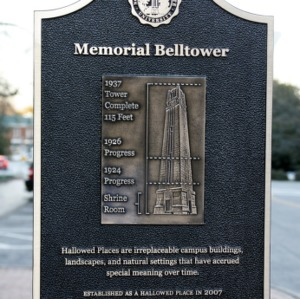 Hallowed Places Plaque, Memorial Bell Tower