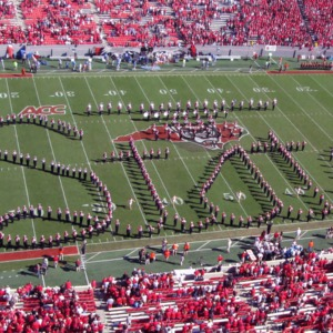 Marching Band in formation at Carter-Finley Stadium
