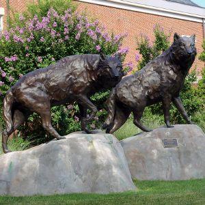 Alumni Center's wolf statues