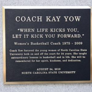 Plaque at Kay Yow Garden