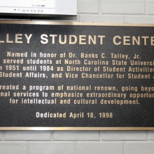 Plaque at Talley Student Center