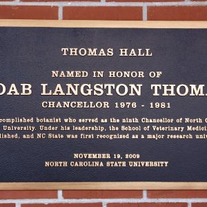Plaque at Thomas Hall