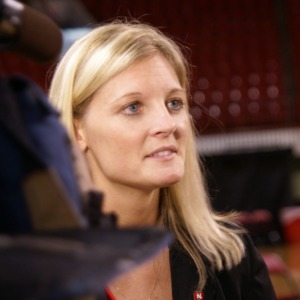 Coach Kellie Harper at Women's Basketball Press Conference