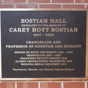 Plaque at Bostian Hall