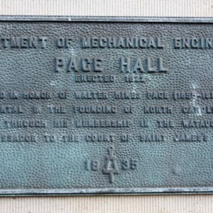 Plaque at Page Hall
