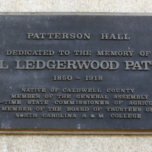Plaque at Patterson Hall