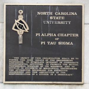 Plaque at Pi Tau Sigma