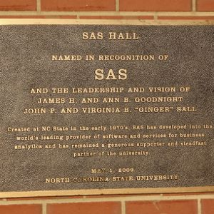 Plaque at SAS Hall