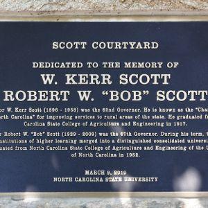 Plaque at Scott Courtyard, dedicated to Govs. W. Kerr Scott and Bob Scott