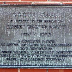 Plaque at Scott Hall