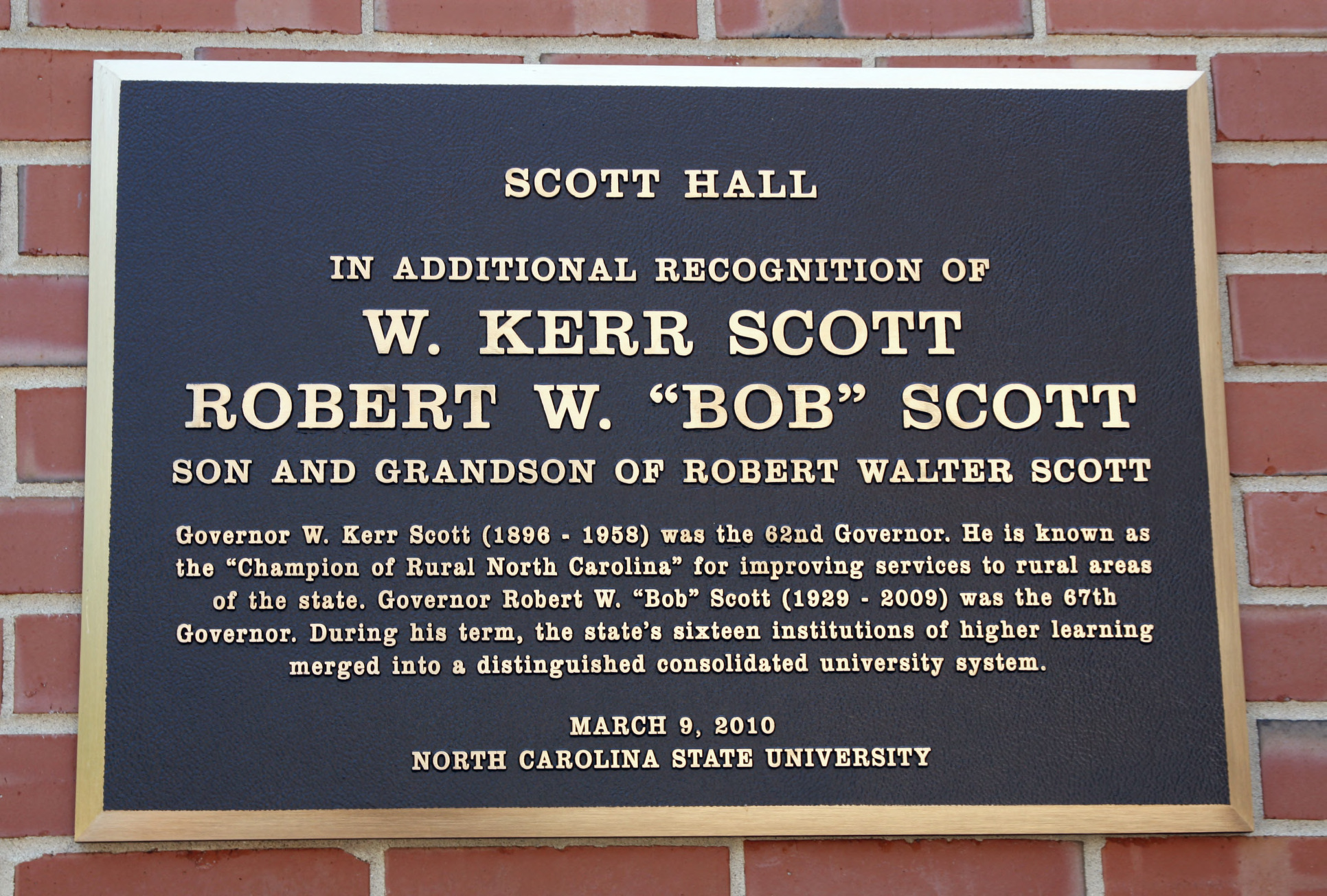 Plaque at Scott Hall