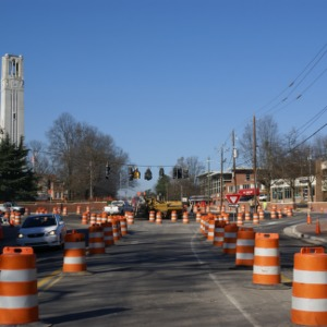 Hillsborough Street roundabout construction